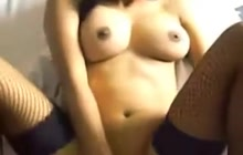 Busty Filipina GF sits on white boy's cock