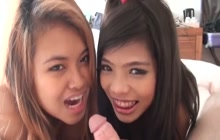Threesome FFM with 2 cute teens