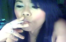 Filipina smoking a cig on webcam